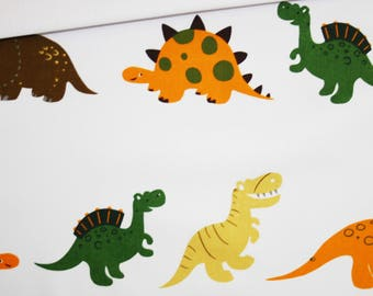 Dinosaurs, 100% cotton fabric printed 50 x 160 cm, dinosaurs colored on white background