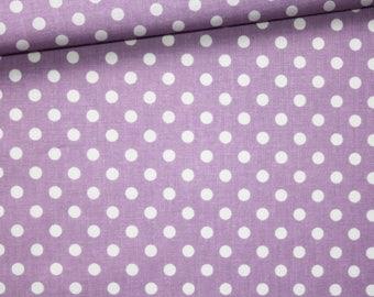 White polka dots, 100% cotton fabric printed 50 x 160 cm white dots on purple background pattern
