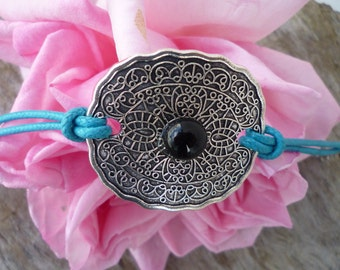 Engraved Tibetan silver ethnic bracelet and drop spun glass flame handmade