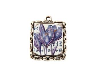 Pendant, resin cabochon, rectangle, Bouquet, flowers, lilies, charm