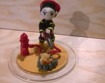Decorative figurine or Cake topper: Thomas fireman cold porcelain