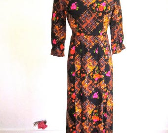 L 60s MOD Long Dress Floral Black Pink Maxi Cotton Hostess Deadstock NWOT Gown Dress Sleeveless Resort Party Large