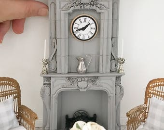 Miniature ornate fireplace mantel - french style with overmantel - Dollhouse - Diorama - Roombox - 1:12 scale