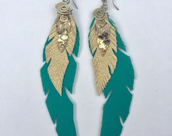 Turquoise and Gold Leather Feather Earring Medium
