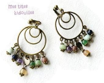 Clip on earring hoops * stones and BRONZE * multi color stones
