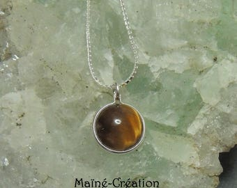 925 sterling silver chain with Tiger eye pendant