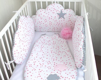Sleeping bag 6 to 20 months, white and grey, pink stars