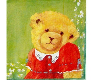 Set of 3 napkins OUR008 Teddy bear red dress