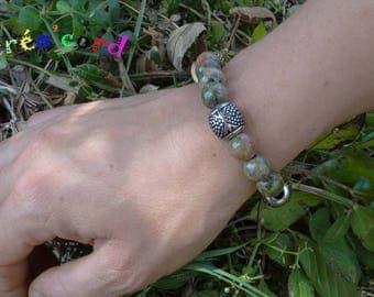 Unakite stone elastic bracelet