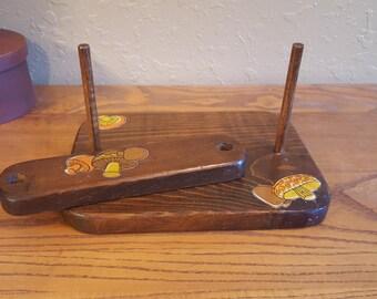 Vintage wooden mushroom napkin holder. Eclectic decoupage wooden napkin holder.