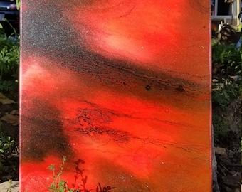 Original - fluid acrylic pour - hot pink - cells -16x20