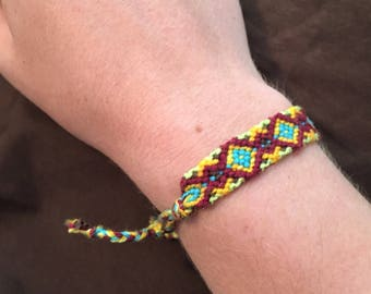 multicolored tribal square knotted friendship bracelet