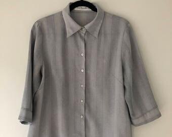 Vintage Light Grey Oversized Blouse