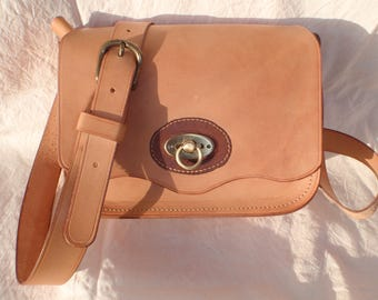 Leather shoulder bag natural vegetable tanned