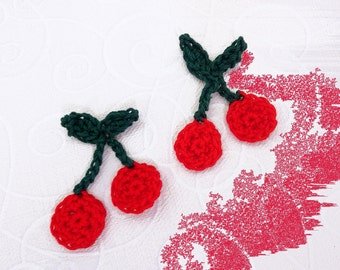set of cherry with hand made crochet in red and green