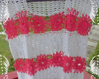 Tank top women, women, women top, tank top women tank top crochet, t-shirt, top, sweater, crochet cotton, pink, white