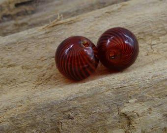 4 beads dark red blown glass handcrafted 12mm round
