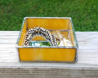 Yellow Orange Square Mirrored Stained Glass Jewelry or Keepsake Box
