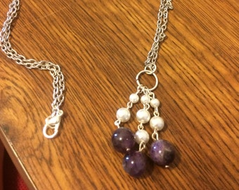 amethyst and pearl dangle charm necklace
