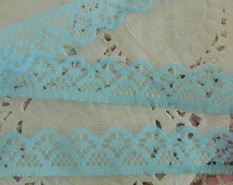 Thin blue non-elastic polyester fine openwork lace 1.50 cm in width.
