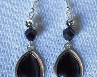 Earrings silver, metal, Pearl Crystal Black twist bead, black opal Teardrop cabochon.