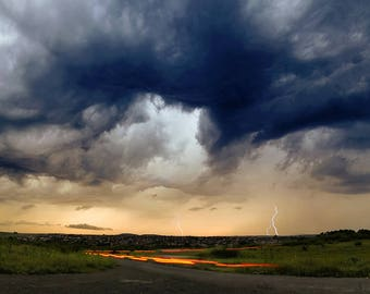 Stormy Weather, Dramatic Sky with Lightnings, Lightning Storm in Panoramic View