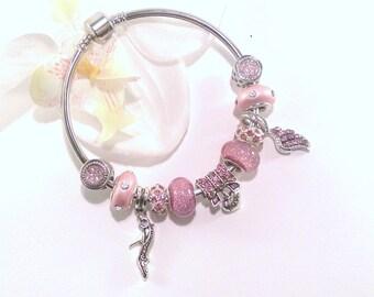 Pink pandora style bracelet