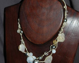 White and sand color macrame necklace
