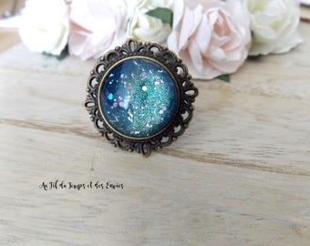 Holographic Cameo Ring Teal turquoise blue