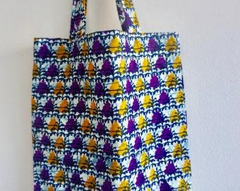 Tote bag in Wax, shopping bag, handbag, beach bag, handmade in Paris