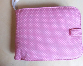 photo album to customize fabric for baby or toddler (girl pink polka dots pattern)