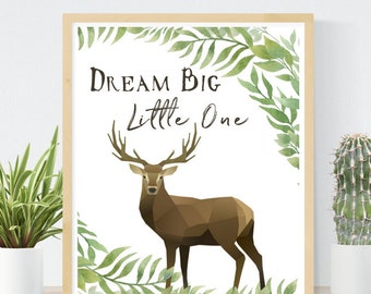 Dream Big Little One | Forest Nursery Print | Gender Neutral Baby Gift | Boho Baby Art | Printable Wall Art | Instant Baby Shower Gift