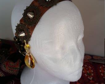 Tribal Fusion Belly Dance Headdress, Costume Headpiece, Steampunk Headband - Copper
