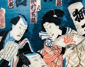 Antique Original Color Woodblock Print - Japanese 19th Century, KUNISADA 1820 Framed