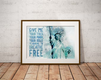 Statue of Liberty Watercolor Poster with New Colossus Quote