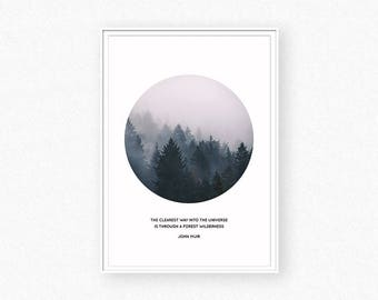 Forest print, forest photography, foggy forest, forest wall art, circle print, trees print, forest inspirational quote