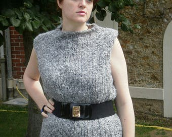 Grey chunky Wool Sweater tunic without sleeves