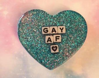 Gay AF Heart Charm