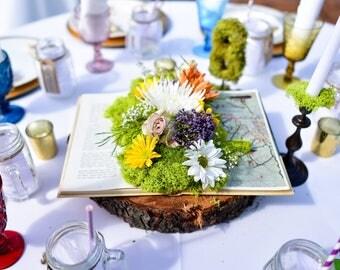 Wedding Book Moss Centerpiece - Rustic Wedding Centerpiece - Enchanted Wedding Centerpiece