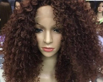 Deep Curly Brown Wig/Golden Brown Wig/ Synthetic High Quality Fibre Wig