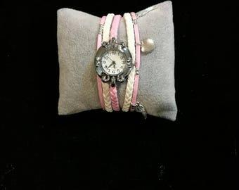 Wristwatch multi strand white and pink