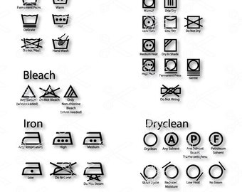 Laundry SVG, PNG, DXF, Eps Cutting Files, Washing guide, Laundry icons, Laundry Guide, Washing Machine Icon, textile care symbols Vector