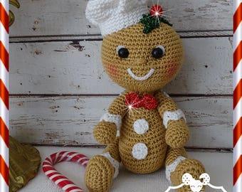 Snowman, gingerbread, plush crochet Amigurumi doll