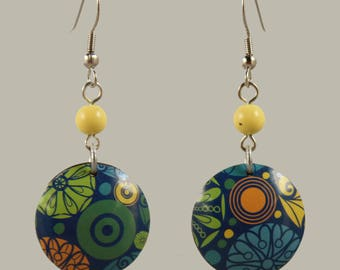 Lemon Zest Lithograph Tin Earrings