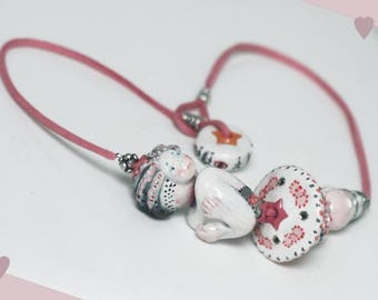 Designer FIGURINE MARQUISE necklace made of large beads