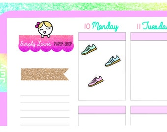 Sneakers sticker|Planner Sticker|shoe  sticker |running sticker |dance sticker|workout sticker Simply Laura| kawaii sticker | Erin Condren