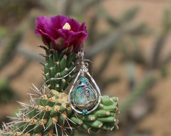 Turquoise teardrop wire wrapped pendant