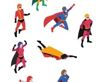 Wall decals sticker decor kids print A3 Super Hero ref 102