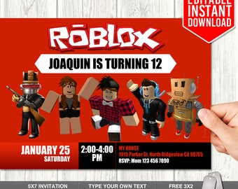 Roblox Invitations, Roblox Invitation Download, Roblox Invites, Roblox Birthday Party, Roblox Instant Download, PDF Template, Editable Text