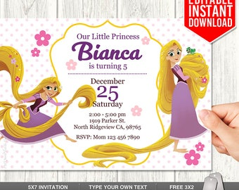 Tangled Invitation, Tangled Series Invitation, Tangled Rapunzel Invitation, Tangled Birthday Party, Tangled Invites, PDF Instant Download
